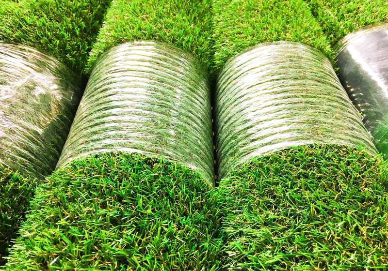 Rolls of new artificial grass