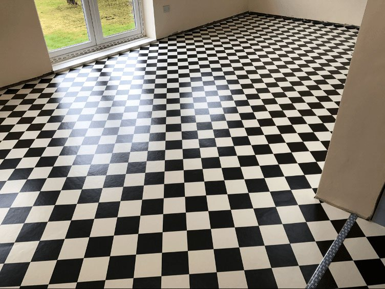 Vinyl black and white checkered flooring